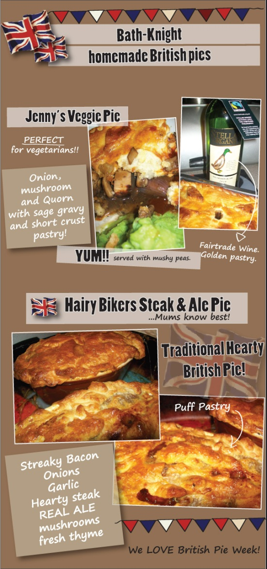 british Pie week Mum knows best steak and ale pie veggie quorn pie