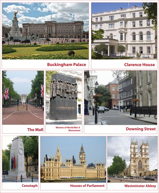 official Royal wedding route to westminster abbey landmarks