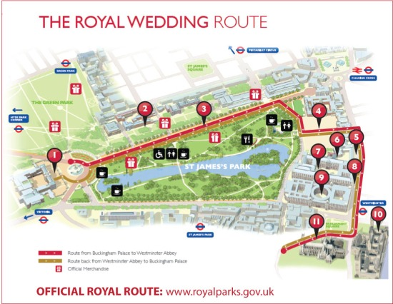 Official Royal Wedding Route to Westminster Abbey