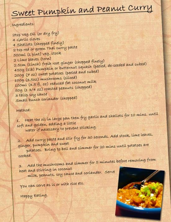 Pumpkin and peanut curry recipe