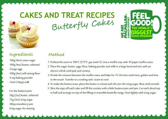 Macmillan Cancer Support Coffee Mornign butterfly cakes