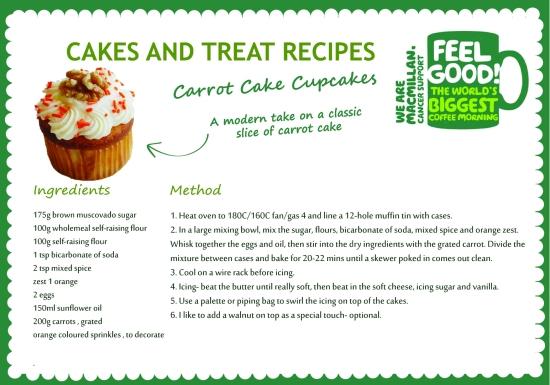 Macmillan recipe carrot cake cupcake