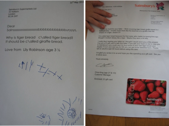 Sainsbury customer service letter