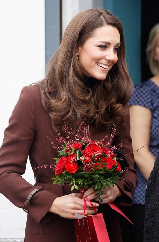 Duchess of Cambridge with Valentine's roses