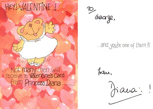 Princess Diana Valentine's card