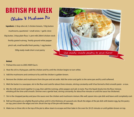 British Pie Week Chicken and Mushroom Pie