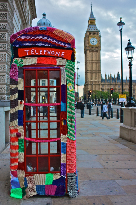 Knit the city telephone box