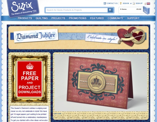 Sizzix homepage