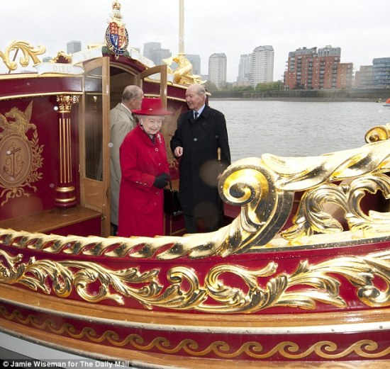 The Queen on board royal jubilee barge Gloriana