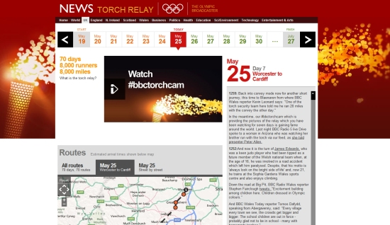 BBC Olympic Torch Relay website