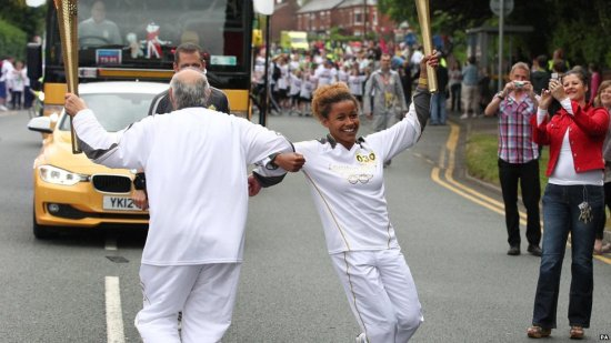 The Olympic torch in Stoke on Trent