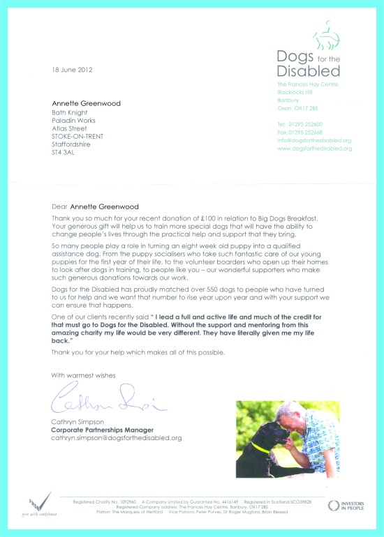 dogs for diabled letter