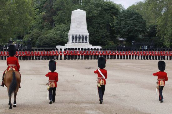 Guardsmen assemble at Trooping the colour parade