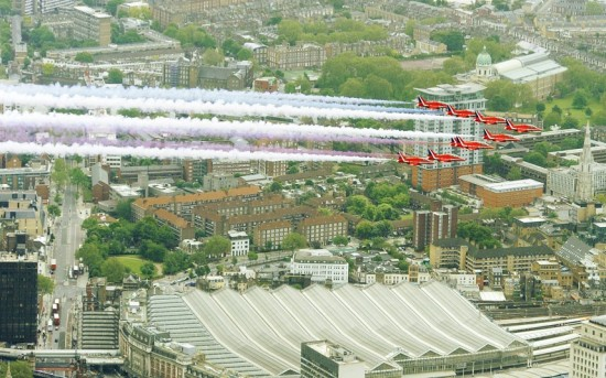 Red Arrows Trooping the colour fly