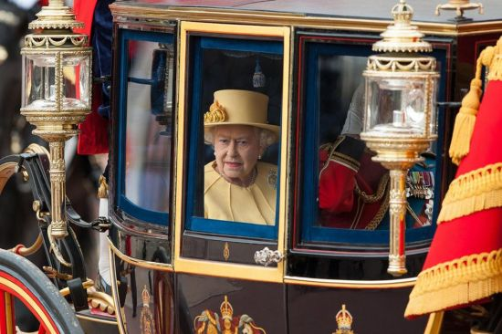 The Queen in carriage Trooping the colours